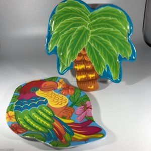 Pair Tropical Design Luau Plates NWOT
